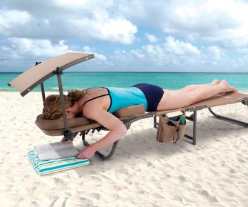 Ergonomic Beach Lounger With Removable Shade