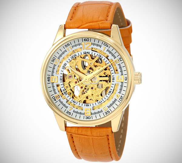 Akribos Skeleton Gold Watch