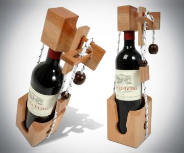 Wooden Puzzle Wine Bottle