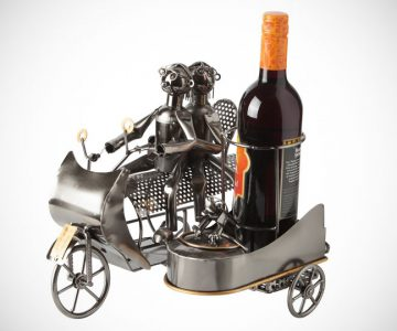Wine Bottle Holder Couple on Motorbike with Dog