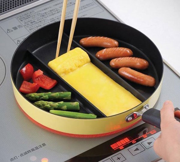 3-Section Nonstick Triple Frying Pan