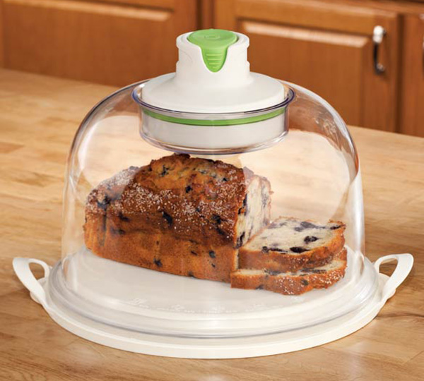Auto-Vacuum Smart Food Dome and Cake Plate & Auto-Vacuum Smart Food Dome and Cake Plate » COOL SH*T i BUY