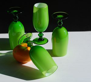 Green and White Cased Cordial Glasses