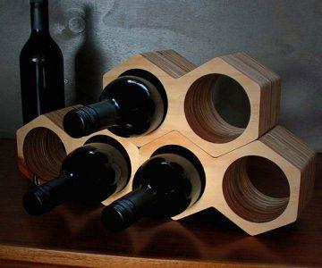 Geometric Honeycomb Wine Holder