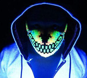 Glow Rainbow Wolf Kandi Rave Mask