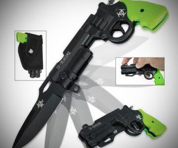Zombie Killer Pistol Revolver Pocket Knife