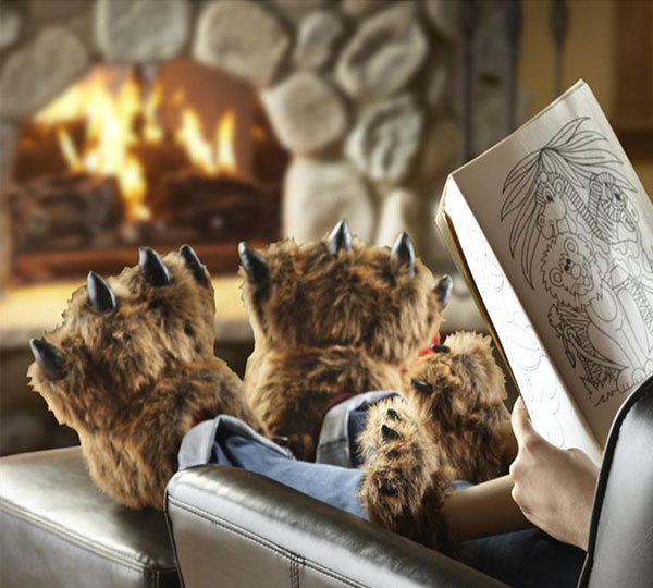 Furry Grizzly Bear Slippers