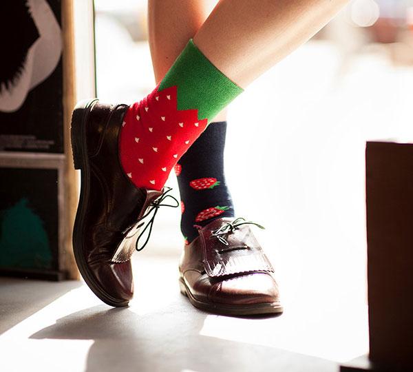 Mismatched Strawberries Socks