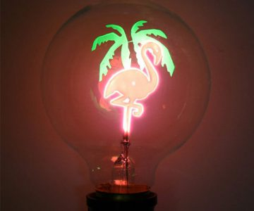 Pink Flamingo Retro Light Bulb