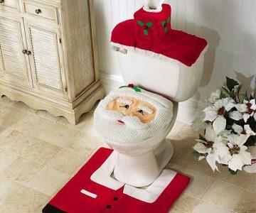 Christmas Santa Toilet Seat Cover and Rug Set