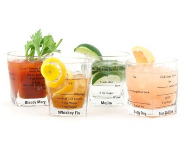 Bartending Glasses with Recipes Written on Glass