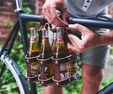 6-Pack Leather Bicycle Beer Carrier