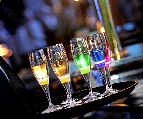 LED Light-Up Champagne Flute Glasses
