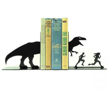 T-Rex Attack Metal Art Bookends