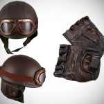 Brown Bikers Helmet & Gloves