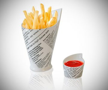 Newspaper Print French Fries & Sauce Holder