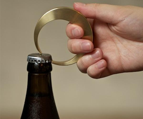 Crescent Brass Bottle Opener