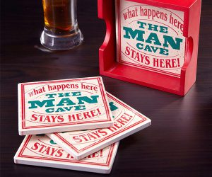 Man Cave Coasters with Holder