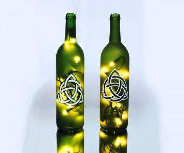 Celtic Lighted Wine Bottle
