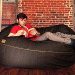 Jaxx 5.5 ft Denim Bean Bag Loveseat Lounger
