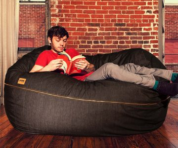 Jaxx 5.5 ft Denim Bean Bag Loveseat Lounger