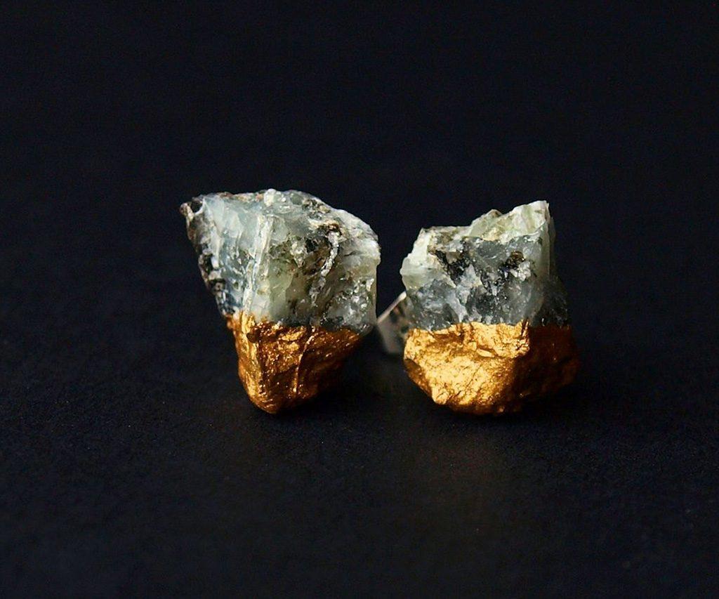 Raw Gold & Emerald Earring Studs