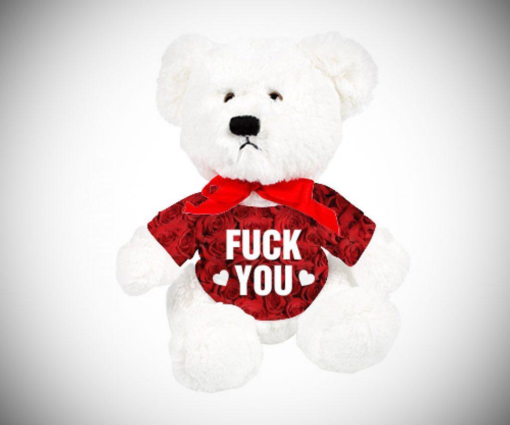 F**k You Allover Rose Plush Teddy Bear