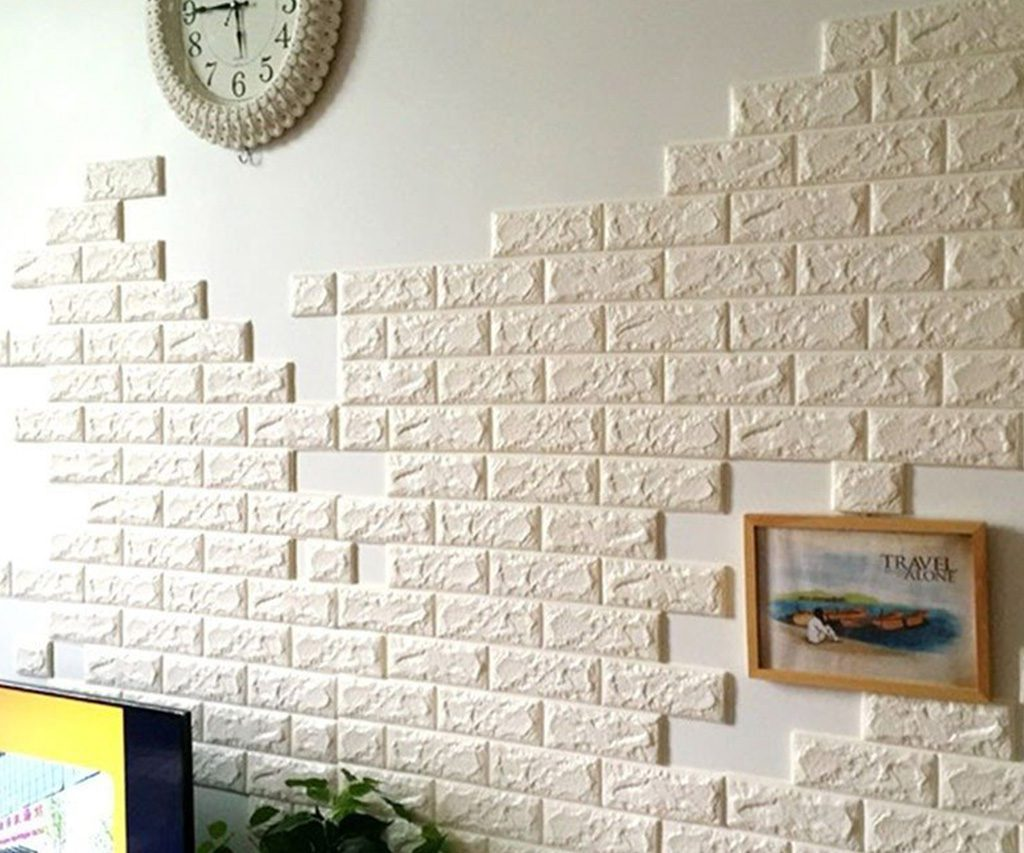 Foam 3d brick wall decals for Brick wall decal mural