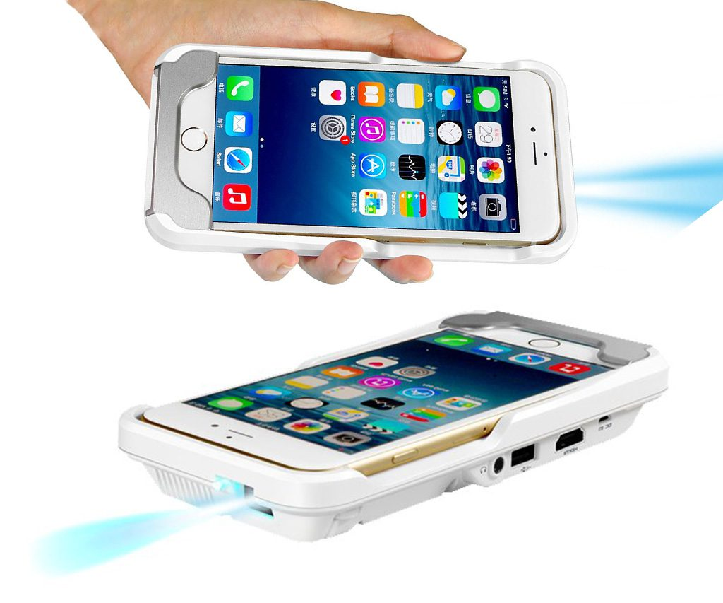 Portable mini iphone video projector case cool sh t i buy for Projector that works with iphone
