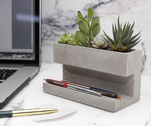 Concrete Desk Top Planter and Pen Holder