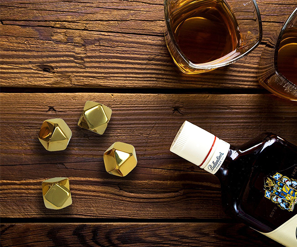 Gold Whiskey Stones Ice Cubes
