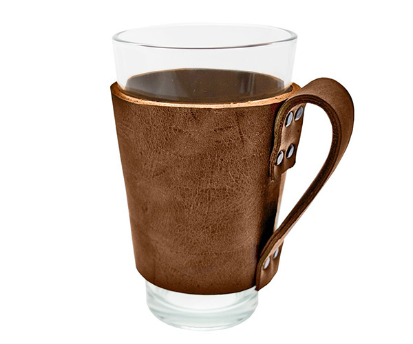 Leather Pint Sleeve Holder with Handle