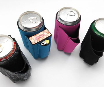 Beer Koozie With Cigarette And Lighter Holder