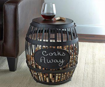 Wine Barrel Cork Catcher Side Table