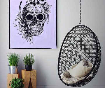 Sugar Skull Flower Wall Tapestry