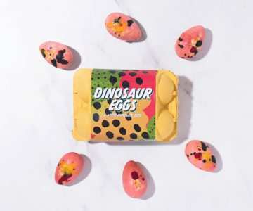 Chocolate dinosaur eggs speckled with vibrant pre-historic guck