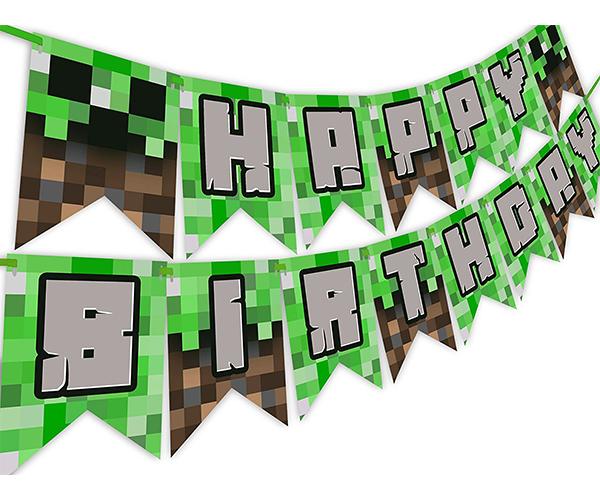 Minecraft Pixelated Birthday Banner